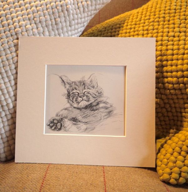 Sleeping cat - Cat D1 - 1940's print by Lucy Dawson